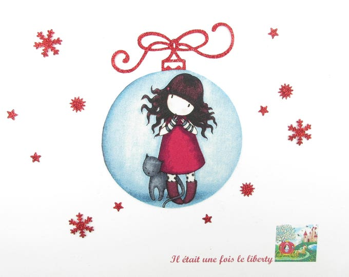 Applied fusing Christmas ball girl Gorjuss fabric Santoro flex glitter patch iron girl pattern Christmas badges