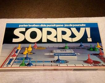 VINTAGE SORRY 1972 Board Game Parker Brothers Complete