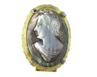 Carved Abalone Cameo Pin / Combination Pin -Necklace Clasp / Natural Shell Cameo / Gold Tone Cameo Pin Brooch/ Convertable Double Clasp