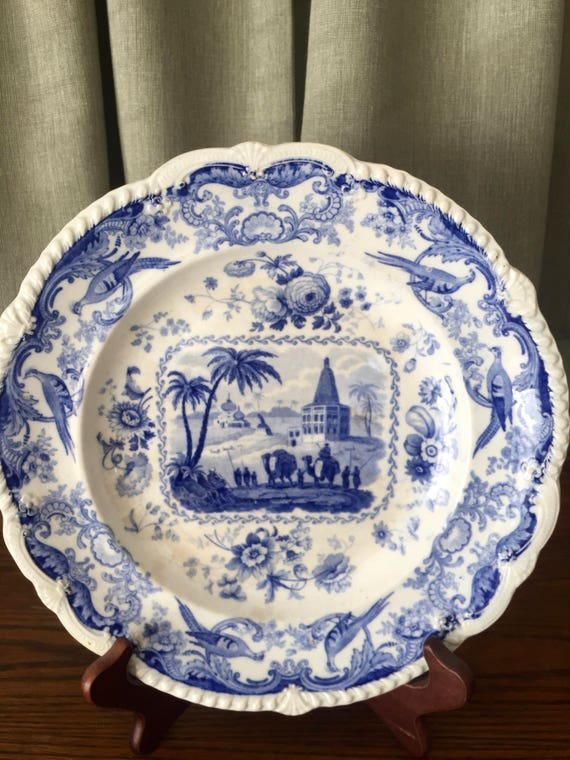 & Blue White China Plate James Keeling Views of