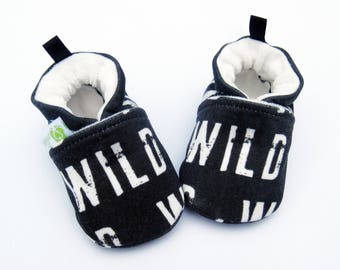 Organic Knits Vegan Wild in Black / All Fabric Soft Sole Baby Shoes / Made to Order