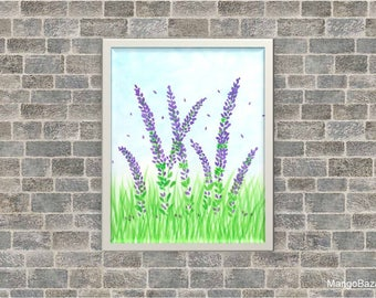 Floral watercolor painting, spring decor, flowers, bright home decor, lupine, purple - Digital file - Instant download