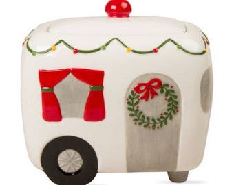 Free Shipping For Seniors! TaG Camper Cookie Jar  RV HoLIDAY CHristmas