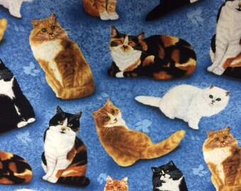 Wilmington Prints FELINE FINE (Blue) 100% Premium Quality Cotton Quilt Fabric-Per 1/2 yd