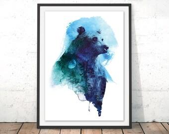 Bear Art Print Bear Wall Art Watercolour Print Bear Illustration Giclee Grizzly Bear Wall Decor Wild Brown Bear Painting by Robert