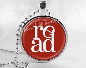 BOOK LOVERS Necklace, Read Necklace, Reading, Books, Library, Librarian, Teacher, Motivational Jewelry, Book Jewelry, Book Pendant