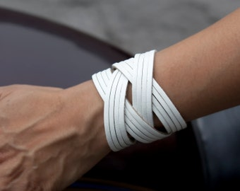 White leather cuff, Woven cuff bracelet  - the Jazz