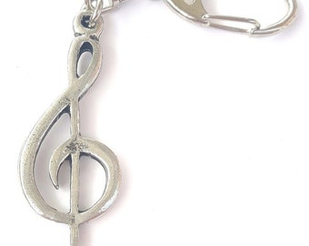 Treble Clef Handcrafted from Solid Pewter In the UK Key Ring
