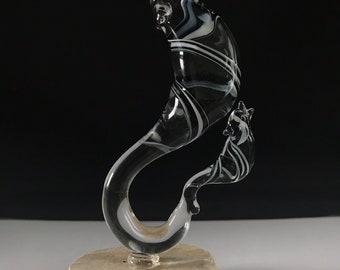 Handblown Glass Abstract Wolf & Baby Sculpture