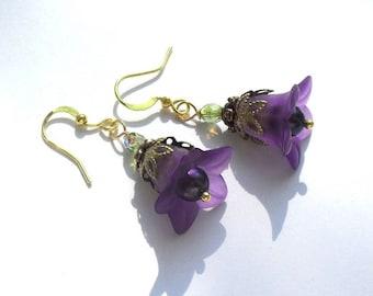 Flower earrings, bellflower earrings, purple and lightblue flower dangle earrings, gift for women, fairy earrings, gold bronze, 1.77 inch