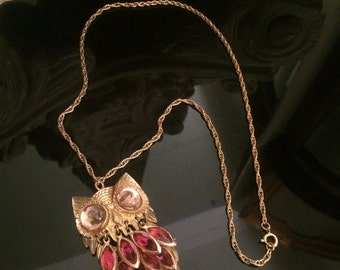 """Vintage Articulated Owl Rhinestone Pedant Necklace on 24"""" Gold Tone Rope Chain - Well Made!"""