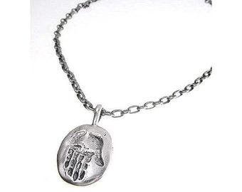 Sterling Silver Contemporary Hamsa Necklace
