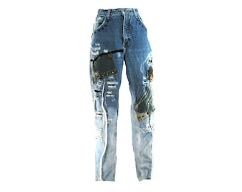 OOAK women's clothing - upcycled jeans - unique Jean, OOAK  jeans, grunge jeans, distressed jeans,  size 8  # 149