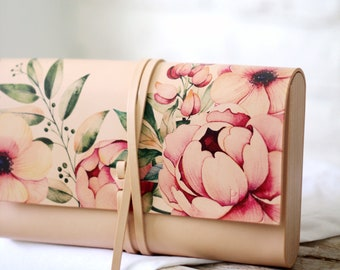 Leather clutch NATURAL  PEONY
