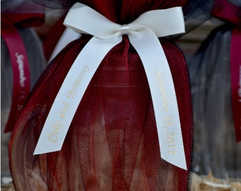 "75 Personalized 5/8"" Satin Ribbons for Wedding Favors, Birthday Favors or Baby Shower Favors."