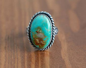 Green royston turquoise ring, sterling silver ring - Size US 7.5