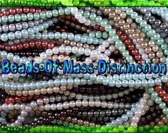6mm Round Glass Pearl Bead Assortment - Destash Sale
