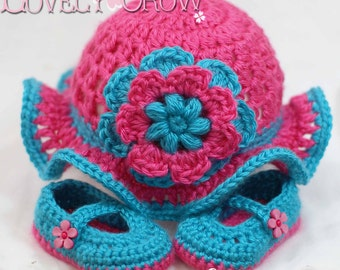 Baby Girl Sun Hat Crochet Pattern for Teaparty Hat - sizes from newborn to 4T digital