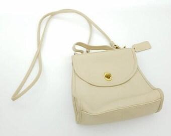 ON SALE Vintage Ivory/ Cream Coach Leather Crossbody Regina Handbag - No. E60-9983