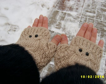 Owl fingerless gloves Owl fingerless mittens Beige fingerless gloves with black pastes