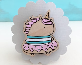 Wood Unicorn Donut Pin