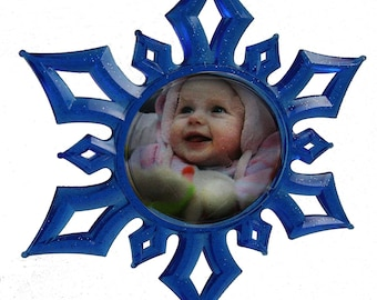 Christmas 3D Photo Snowflake Ornament BLUE