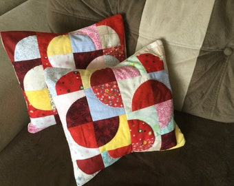 Abstract Pillow, Throw Pillow, Patchwork Pillow, Pillow Cover, Patchwork, Nursery Pillow, Quilted Pillow, Handmade Pillow, Free Shipping
