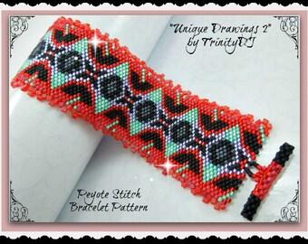BP-AB-102a - Unique Drawings - Peyote Pattern, Peyote Bracelet pattern, beadweaving pattern, peyote stitch, bracelet pattern