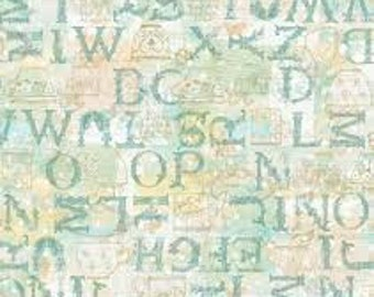 """Tea Time Letters from Susan winget, By the Half Yard, 44"""" wide, 100% cotton, novelty fabric, quilting fabric, teal letters, letters fabric"""