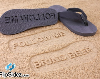 Custom BRING BEER Flip Flops - Personalized Sand Imprint Sandals *check size chart, see 3rd product photo*