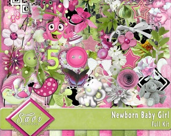 Digital Scrapbooking Kit, NEWBORN BABY GIRL lots of flowers, baby items, stamps foliage plus wordstrips lots of papers