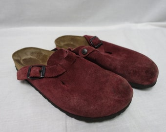 Vintage BOSTON Birkenstock Clog Shoe SUEDE LEATHER Sz-39 Sandal
