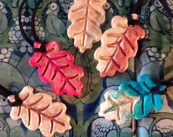 Oak leaf autumn necklace