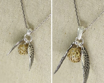 SS037- CZ filigree Sterling Silver Quidditch-inspired winged golden ball necklace