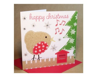 Christmas Robin Card  (jewelled)