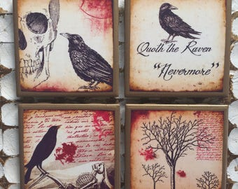 COASTERS! Edgar Allen Poe inspired raven coasters with gold trim