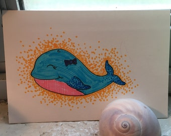 Blue Whale Illustration pointillism