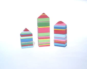 Colorful striped houses / Three wooden houses / Miniature village / Reclaimed wood / Gift
