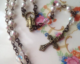 White Pearl Rosary -First Communion - Baptism - Wedding - Gift - Swarovski Pearl/Crystal - Brass/ Bronze Metal - Religious - Catholic