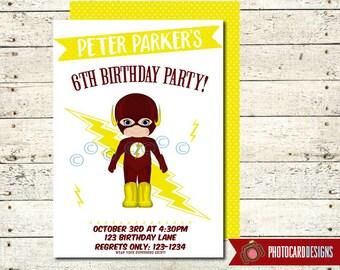 Flash Birthday Invitation, Flash, Flash Gordon, SUPERHERO Birthday Invitation, Birthday, Superhero. Halloween. Digital. Super Hero, Costume