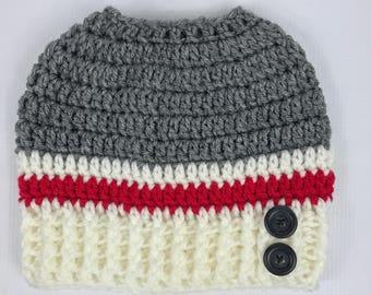 Messy Bun Hat, sock monkey hat, winter, crochet hat, teen hat, adult hat, gray red creme, free shipping