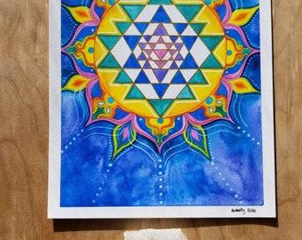 Sri Yantra Sacred Geometry Visionary Watercolor Art Hand Embellished Print