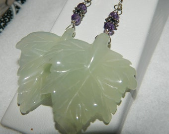 Serpentine Leaf Amethyst Rondelles Gemstone Earrings Sterling Silver Dangle Earrings