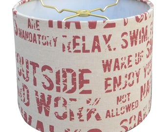 Royal Designs Linen Cream and Red Relaxing Phrase Print Hardback Lamp Shade