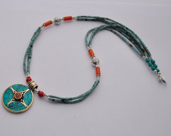 DIY Necklace Kit - Afghani Turquoise Lapis Beads Handmade Focal Pendant with Brass Findings M04