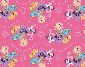 My Little Pony Fabric MLP Fabric Ponies in Pink From Camelot 100% Cotton