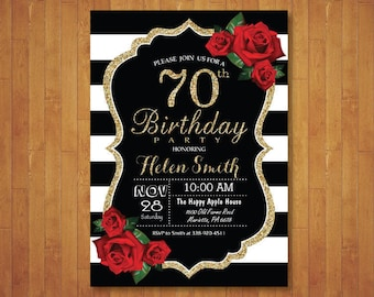 70th Birthday Invitation for Women. Red Roses. Black and White Stripes. Gold Glitter. 40th 50th 60th 80th 90th Any Age. Printable Digital.