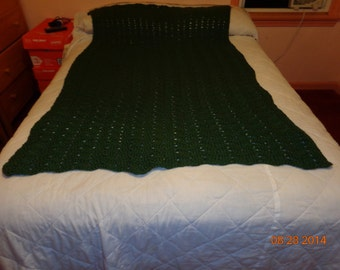 Dark Green Afghan  sofa throw twin size blanket