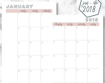 The 2 Page Calendar, Monday Start | January - December 2018 | Half Letter Size | Printable Planner | Printable Calendar | OG Style