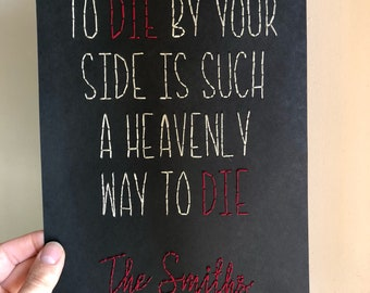 The Smiths lyrics embroidered art